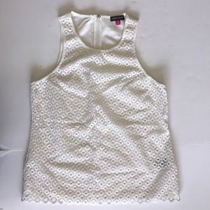 Vince Camuto White Tank Lined Back Zip Eyelet 8